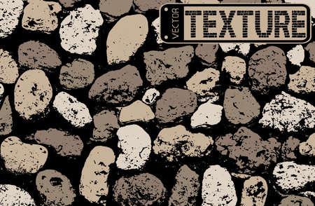 debris: Vector texture of multicolored stone coquina wall in cement. Vector illustration Illustration