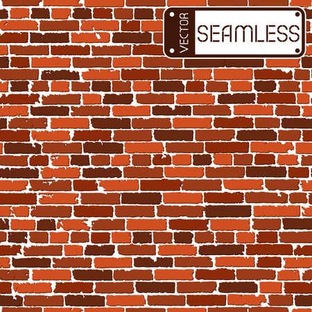 ladrillo: Textura inconsútil del vector del realista antiguo muro de ladrillo marrón con sombras. Ilustración vectorial Vectores