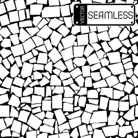 black wall: Vector seamless texture of black and white asymmetric decorative tiles wall. Vector illustration Illustration
