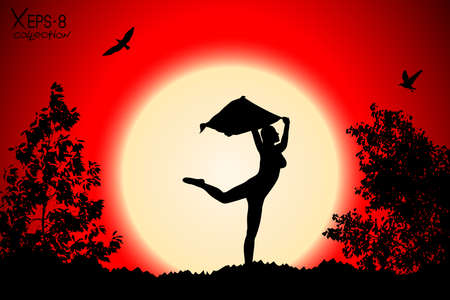 red sunset: Young girl silhouette with shawl dancing on background of red sunset with trees, birds. Vector illustration