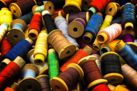 contrasted: Colored high contrasted threads for sewing background