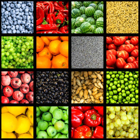sultana: Mix collage of 16-in-1 food background divided by black frame: tomatoes, blueberry, apples, pasta, peas, chili pepper, poppy seeds, oranges, lemons, bell pepper, sultana grapes, watermelons, peanuts Stock Photo