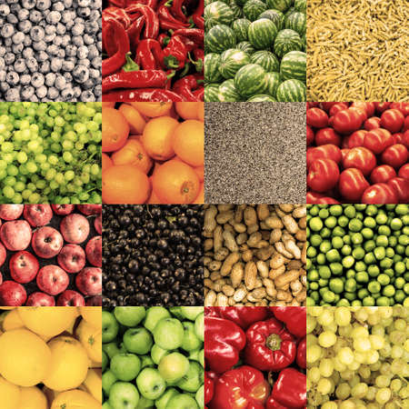 sultana: Mix collage of 16 in 1 food background: tomatoes, blueberry, apples, pasta, peas, chili pepper, poppy seeds, oranges, lemons, bell pepper, sultana grapes, watermelons, peanuts retro filtered Stock Photo