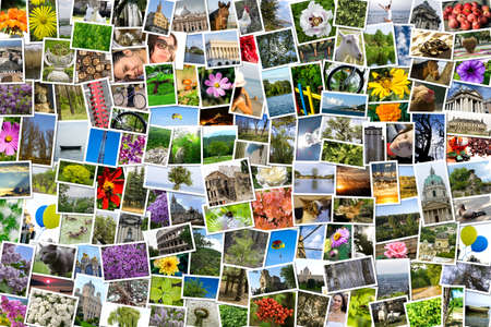 Asymmetrical mosaic mix collage of 200 photos of life style, people, different places, landscapes, flowers, insects, objects, sport and animals shot by myself during Europe travels Stock Photo