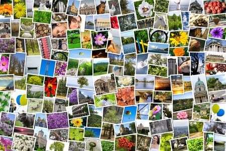 Asymmetrische mozaïek mix collage van 200 foto's van het leven stijl, mensen, verschillende plaatsen, landschappen, bloemen, insecten, voorwerpen, sport en dieren geschoten door mijzelf tijdens Europe verplaatst