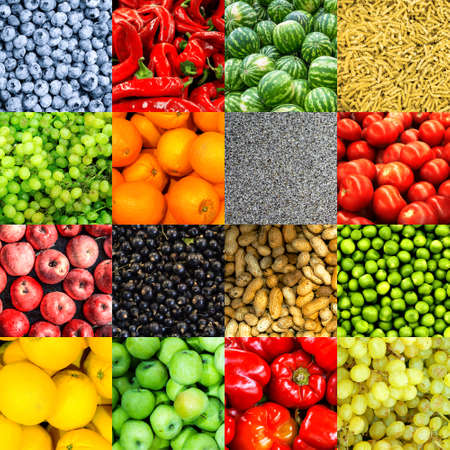 sultana: Mix collage of 16-in-1 food background: tomatoes, blueberry, apples, pasta, peas, red chili pepper, poppy seeds, oranges, lemons, red bell pepper, sultana grapes, watermelons and roasted peanuts