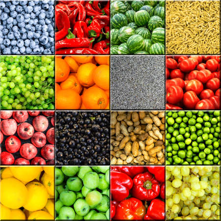 sultana: Mix collage of 16-in-1 food background divided by 3D effect: tomatoes, blueberry, apples, pasta, peas, chili pepper, poppy seeds, oranges, lemons, bell pepper, sultana grapes, watermelons and peanuts Stock Photo