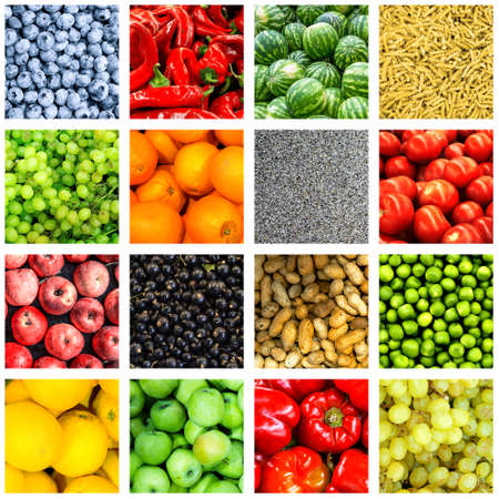chili: Mix collage of 16-in-1 food background divided by white frame: tomatoes, blueberry, apples, pasta, peas, chili pepper, poppy seeds, oranges, lemons, bell pepper, sultana grapes, watermelons, peanuts Stock Photo