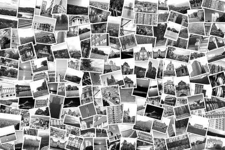 Asymmetrische mozaïek mix collage van 200 foto's van verschillende plaatsen, landschappen, voorwerpen geschoten door mijzelf in Europa reist zwart en wit