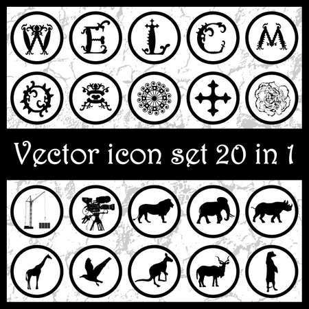 w c: Set of vintage vector icons logos 20 in 1 with letters W, E, L, C, O, M, animals silhouettes, ornaments, cross, crane, camera, mask and flower. Vector illustration Illustration