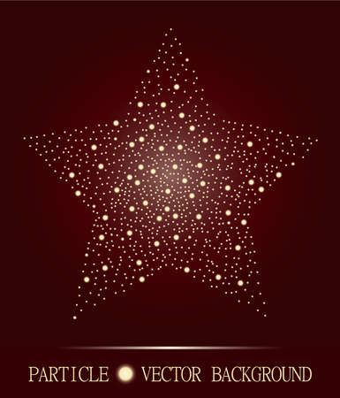 burgundy background: Abstract star of glowing light particles on burgundy background. Atomic technology design. Style background for presentations, cards, scientific and jewelry design. Vector illustration Illustration