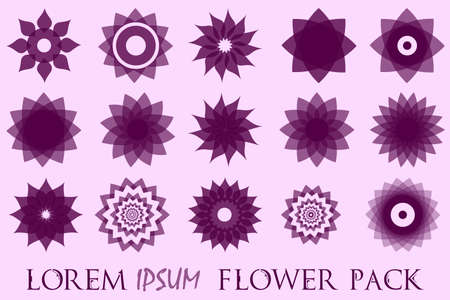 Pack of 15 transparent black abstract geometric flowers  template.