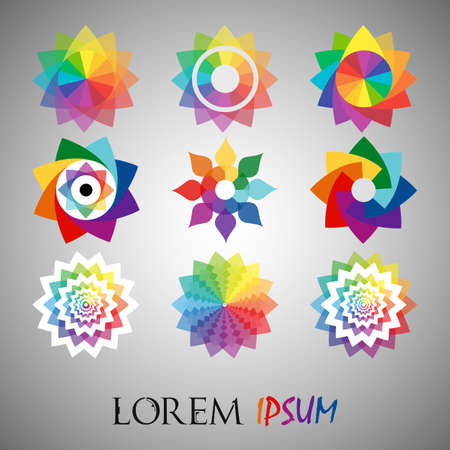 Pack of 15 transparent rainbow abstract geometric flowers  template.