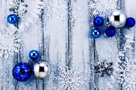 new year theme christmas tree white and silver decorations blue balls snow - White Christmas Tree With Blue And Silver Decorations