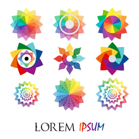 Pack of 9 transparent rainbow abstract geometric flowers logo template on white background. Business abstract icon. Use for logo, sign, symbol, web, label, icon. Vector illustration