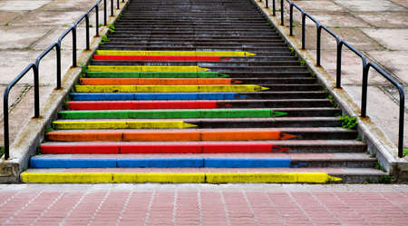 contrasted: Stairway concept  in the form of pencils of rainbow colors contrasted photo Stock Photo