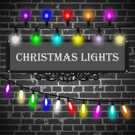string of christmas lights: Christmas lights decorations set on black brick wall background. Vector illustration Illustration