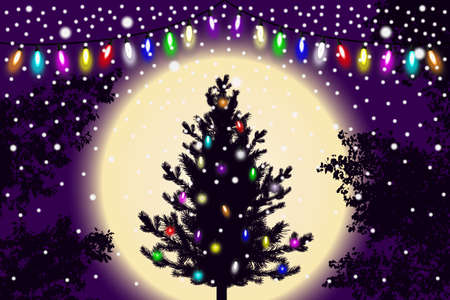 Abstract falling snow, new year Christmas tree with lights decorations and contour of tree leaves on violet sunset background. Style background for decoration and cards design. Vector illustration