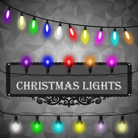 rumpled: Christmas lights decorations set on black abstract geometric rumpled triangular graphic background. Vector illustration Illustration