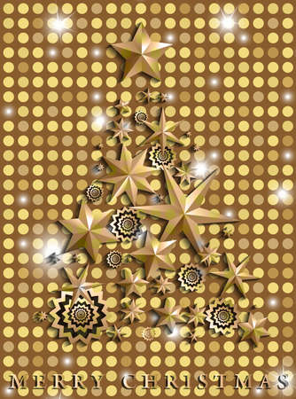 Christmas and New Year abstract with Christmas Tree made of stars and snowflakes on golden shining rounds background. Vector illustration