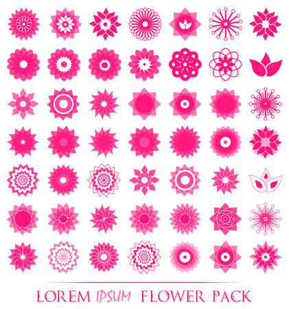 Pack of 49 transparent light pink abstract geometric flowers logo template. Business abstract icon. Use for logo, sign, symbol, web, label, icon. Vector illustration Illustration