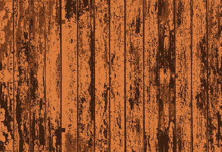 weathered wood: Vector texture of realistic bright brown old painted wooden fence. Vector illustration