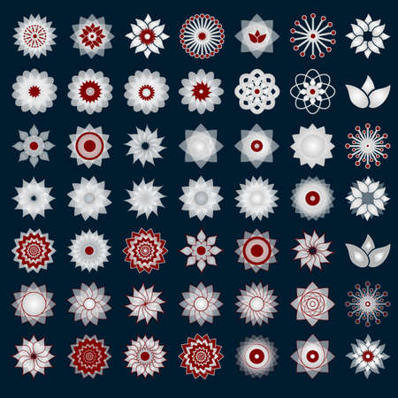 nature backgrounds: Pack of 49 transparent light red and white abstract geometric flowers logo template on dark blue background. Business abstract icon. Use for logo, sign, symbol, web, label, icon. Vector illustration