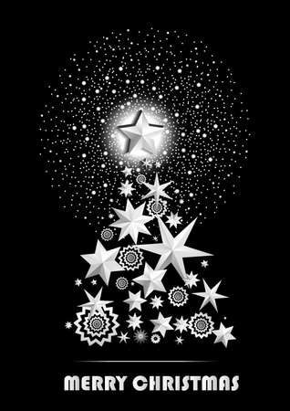 banger: Christmas and New Year abstract with Christmas Tree made of stars and snowflakes with firework on black background. Vector illustration