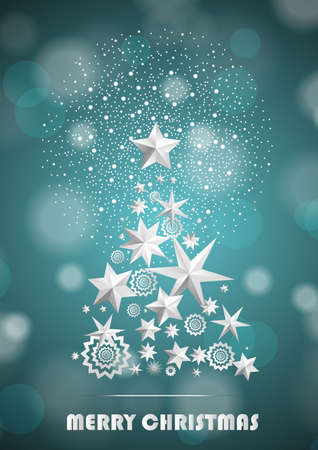 ambient: Christmas and New Year abstract with Christmas Tree made of stars and snowflakes with firework on cyan ambient blurred background. Vector illustration Illustration