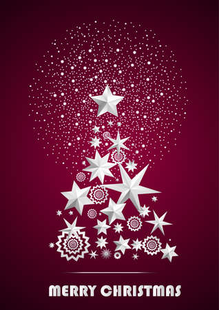 ambient: Christmas and New Year abstract with Christmas Tree made of stars and snowflakes with firework on dark pink ambient background. Vector illustration
