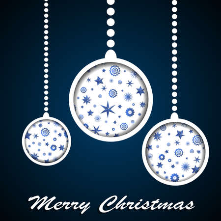 cuted: White Christmas toys with stars and snowflakes cuted in paper on dark blue background. Vector illustration