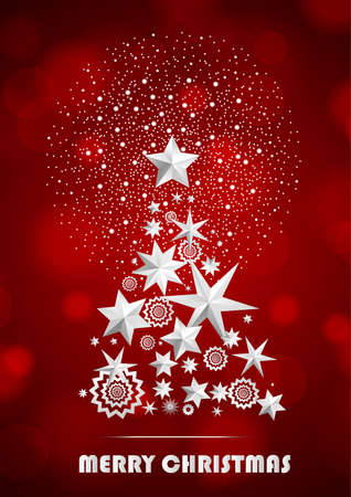 ambient: Christmas and New Year abstract with Christmas Tree made of stars and snowflakes with firework on red ambient blurred background. Vector illustration Illustration