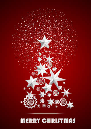 ambient: Christmas and New Year abstract with Christmas Tree made of stars and snowflakes with firework on dark red ambient background. Vector illustration Illustration