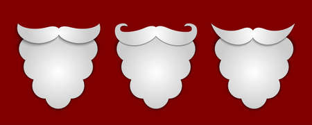 red beard: Vector abstract snow paper Santas beard with shadows 3 in 1 on red background. Vector illustration