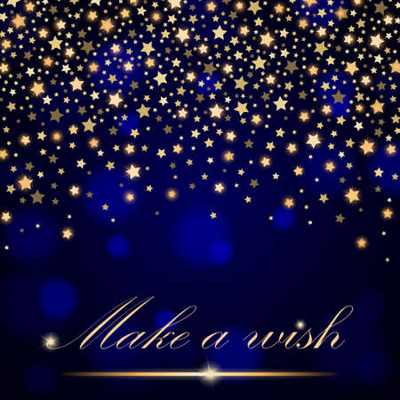 ambient: Vector abstract shining falling stars on blue ambient blurred background. Luxury design. Vector illustration