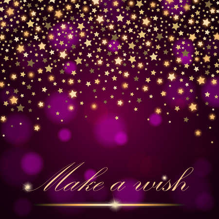 Vector abstract shining falling stars on violet ambient blurred background. Luxury design. Vector illustration