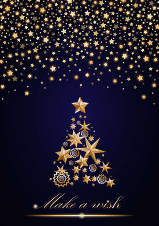 ambient: New Year and Christmas card design: gold Christmas Tree made of stars and snowflakes with abstract shining falling stars on blue ambient background. Vector illustration