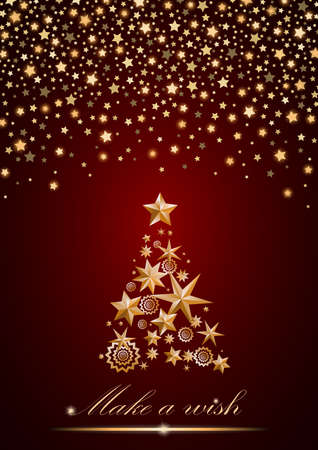 ambient: New Year and Christmas card design: gold Christmas Tree made of stars and snowflakes with abstract shining falling stars on red ambient background. Vector illustration