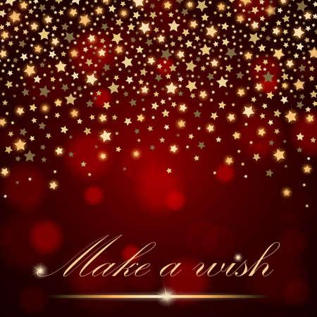 feestelijk: Vector abstract shining vallende sterren op rode ambient vage achtergrond. Luxe design. vector illustratie