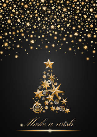 ambient: New Year and Christmas card design: gold Christmas Tree made of stars and snowflakes with abstract shining falling stars on grey ambient background. Vector illustration