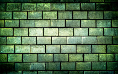 vignetting: Texture of green decorative tiles in form of brick high contrasted with vignetting effect Stock Photo