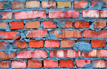 hollow walls: Fresh red clay brickwork contrast detailed texture background Stock Photo