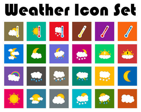 colored window: Set of 24 vector weather square colored window style flat icons on white background. Vector illustration
