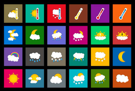 colored window: Set of 24 vector weather square colored window style flat icons on black background. Vector illustration