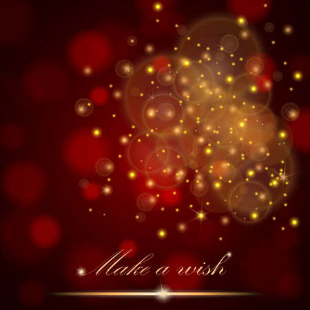 Vector golden lights concept abstract on red ambient blurred background. Luxury design. Vector illustration