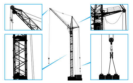 hoisting: High detailed vector hoisting crane. Vector illustration Illustration