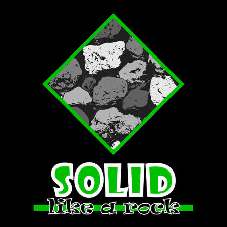 beefy: Solid like a rock. Abstract vector green style flat logo print stones design. Used for print on T-shirts, web, logo, icon, decor. Vector illustration