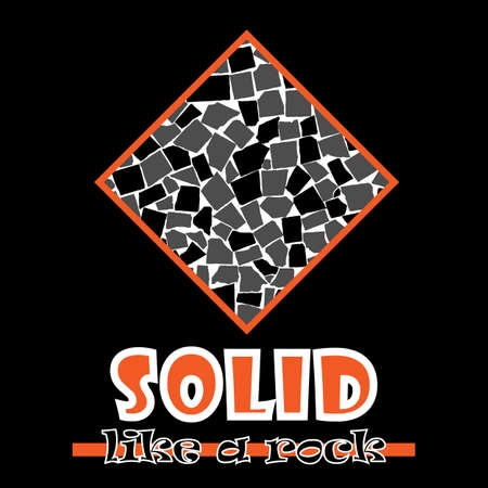 beefy: Solid like a rock. Abstract vector orange style flat logo print tiles design. Used for print on T-shirts, web, logo, icon, decor. Vector illustration