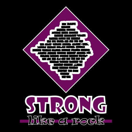 beefy: Strong like a rock. Abstract vector violet style flat logo print brick wall design. Used for print on T-shirts, web, logo, icon, decor. Vector illustration