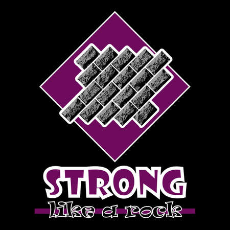 beefy: Strong like a rock. Abstract vector purple style flat logo print bricks design. Used for print on T-shirts, web, logo, icon, decor. Vector illustration